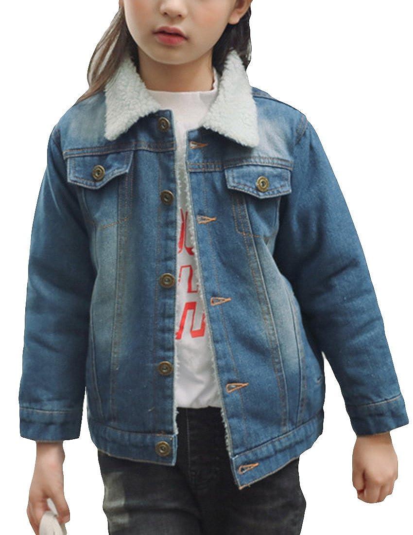 MFrannie Girls Thicken Fleece Classical Casual Washed Denim Jacket