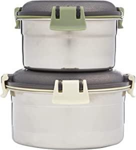 Stainless Steel Food Jars and Storage Canisters Multi Purpose Organizational Containers Set for Kids, Lunch, 304 Stainless Steel Bowls with Locking Lids (Set of Two)