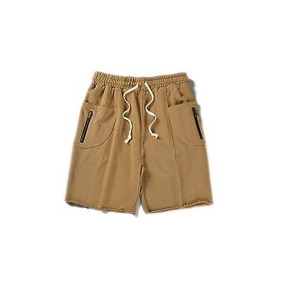 Diot Side Pockets with Zipper Elastic Waist Men's Shorts 2018 Summer Terry Material Unlock Hemline Cotton