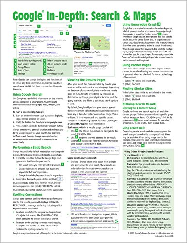 Google In-Depth: Search & Maps Quick Reference Guide (Cheat Sheet of Instructions, Tips & Shortcuts - Laminated Card)