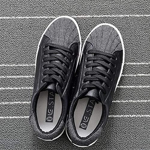 Zapatos Negra Flat ZHZNVX Heel Comfort Primavera PU Verano Poliuretano Black Cerrado Sneakers de Blanca Mujer con Punta 1wZSw