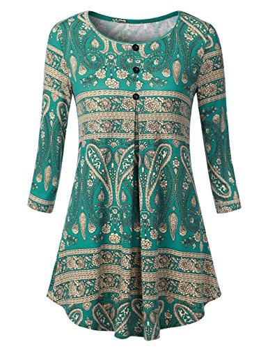 Peacock Embroidered Jean - BAISHENGGT Women's 3/4 Sleeve Buttons Pleated Front Tunic Top Peacock Green M