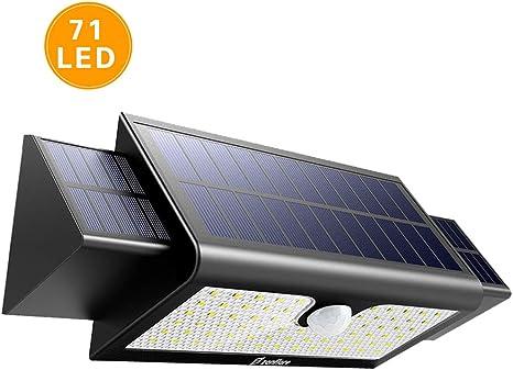 Zanflare Lámpara Solar con Sensor de Movimiento 71 LED Luz, Lámpara de Panel Solar Movimiento y Energía Solar Impermeable Luminosa Seguridad al Aire Libre,batería: 2 * 2600 18650.: Amazon.es: Iluminación
