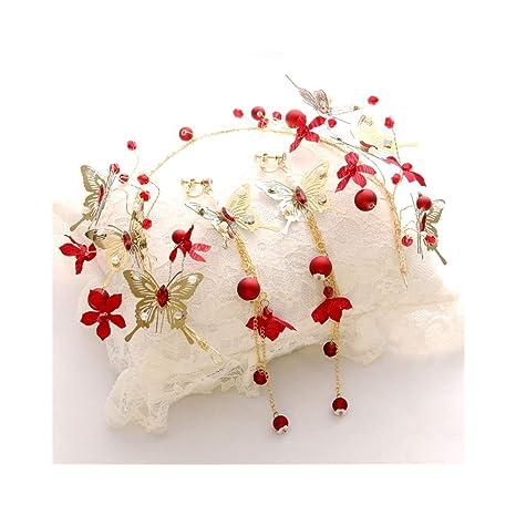 Ppzmd Headwears Nueva Corona de Flores Diadema roja con ...