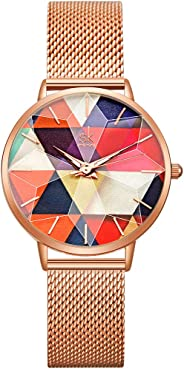 SHENGKE Creative Starry Star Women Watch with Stainless Steel Mesh Band Genuine Leather Elegant Women Watches