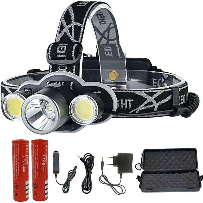 5000 Lumens XM-L T6 LED Headlamp Head Torch Headlight 18650 Torch Rechargeable