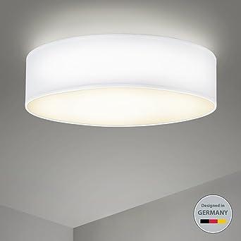 B.K.Licht Deckenleuchte 3 Flammig Stoffleuchte Weiß Rund Stoff Deckenlampe  Deckenstrahler Schlafzimmerleuchte Wohnzimmerleuchte