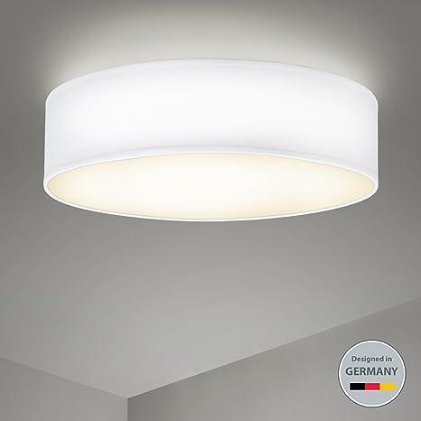 Plafoniera rotonda, Lampada in tessuto bianco con 3 lampadine ...
