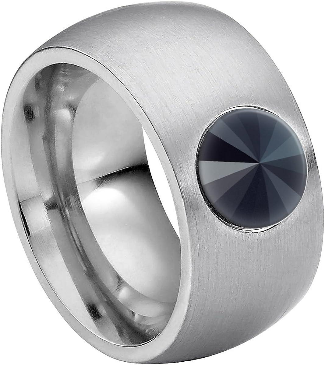 Anillo Heideman Ring Coma 11 de Acero Inoxidable Color Plata Mate para Damas con Cristal de Swarovski Blanco/Color fantasía Tallado en Piedra Preciosa de 8mm
