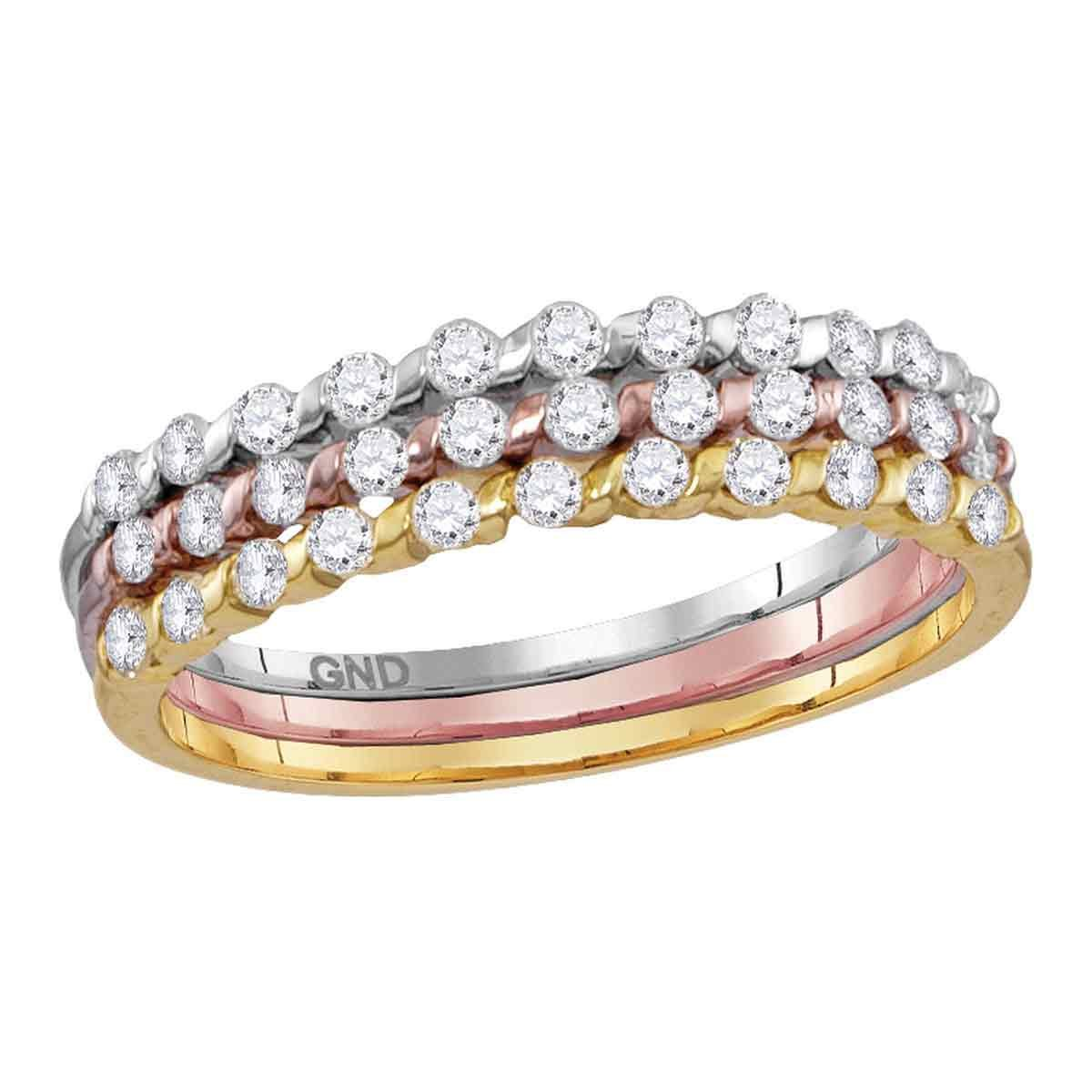 Round Diamond Stackable Rings 10k Yellow White Rose Gold Fashion Bands Three Piece Tri Color 1/2 ctw