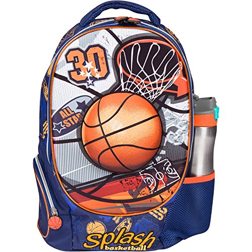 MB ALL STAR – Kids Backpack Elementary School Book Bag for Boys with 3D Basketball Soccer Sport Design – Large Compartments and Side Pockets – Durable with Padded Bottom (16 Inches)