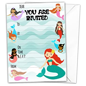 10 X Glossy Little Mermaids Birthday Party Invitations Cards With Envelopes Magical Fairytale Fairy