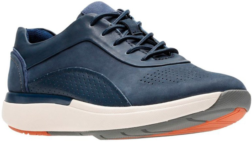 CLARKS Women's Un Cruise Lace Navy Nuback/Leather Combi 8 B US