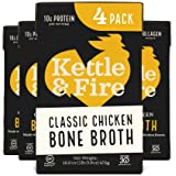 Chicken Bone Broth Soup by Kettle and Fire, Pack of 4, Keto Diet, Paleo Friendly, Whole 30 Approved, Gluten Free, with Collag