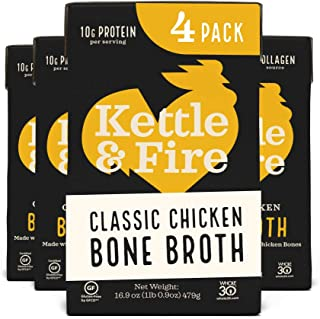 product image for Chicken Bone Broth Soup by Kettle and Fire, Pack of 4, Keto Diet, Paleo Friendly, Whole 30 Approved, Gluten Free, with Collagen, 10g of protein, 16.2 fl oz