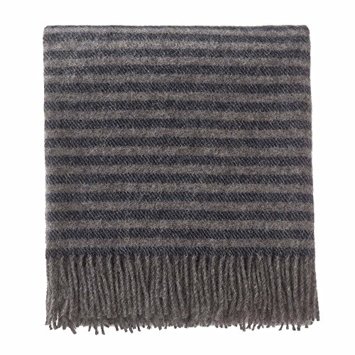 Virgin Wool Blanket - URBANARA 100% Pure Scandinavian Wool Throw Visby 55x87 Dark Blue/Grey Melange with Fringe - Virgin Wool Blanket with Decorative Striped Design - Perfect for Your Couch, Sofa, Bedroom, Twin Size Bed