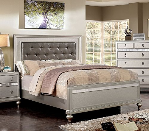 Avior Silver Leatherette Headboard King Bed by Furniture of America by Furniture of America