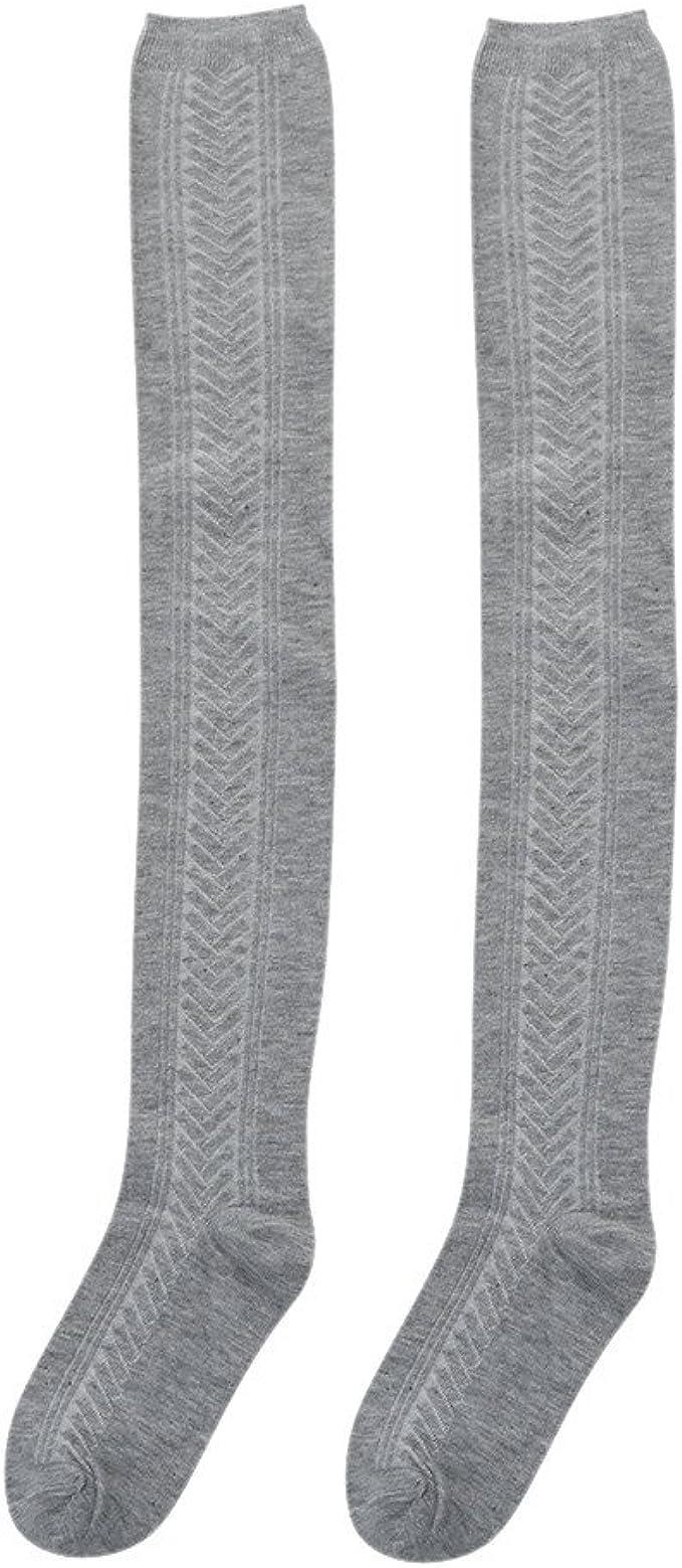 DressLksnf Calcetines Largas para Mujer Color Sólido Algodón ...