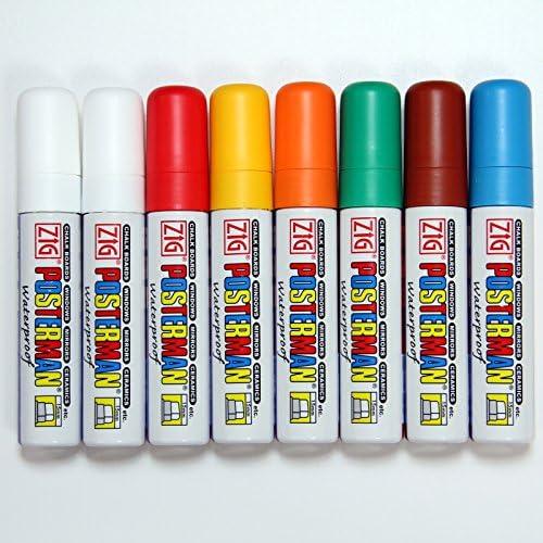 Zig Posterman Kreidestifte, flüssig, wasserfest, Packung mit 8 verschiedenen Farben, 15-mm-Spitze, MCPMA120
