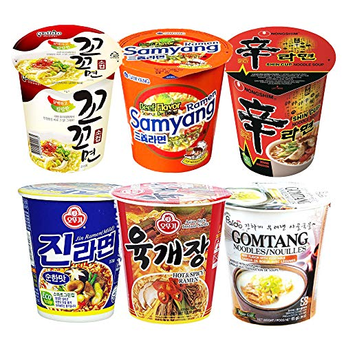 - 20S20 Assorted Instant Cup Noodle Soup 6 Pack- Koko Samyang Gomtang Jin Remen Hot Spicy Shin Ramen