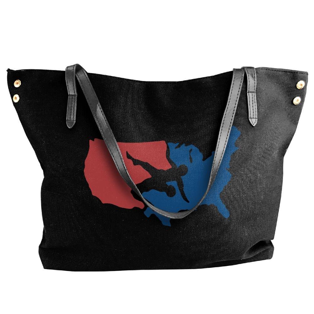 Women's Canvas Large Tote Shoulder Handbag USA Wrestling Messenger Hobo Bag Tote
