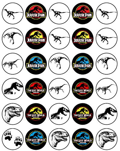 30 x Edible Cupcake Toppers - Jurassic Park Themed Collection of Edible Cake Decorations | Uncut Edible Prints on Wafer Sheet