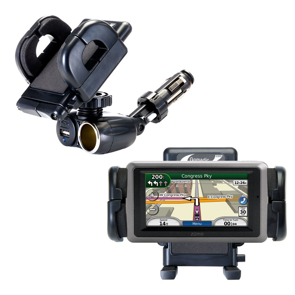 Dual USB / 12V Charger Car Cigarette Lighter Mount and Holder for the Garmin Zumo 665 by Gomadic