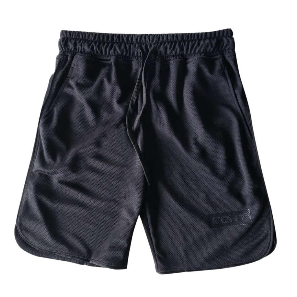 Binmer Clearance Sale Men's Sports Training Bodybuilding Summer Shorts Workout Fitness Gym Short Pants (M, Black)