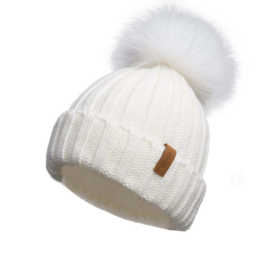 Pilipala Women Knit Winter Turn up Beanie Hat Ivory and White Fur Pompom VC17604
