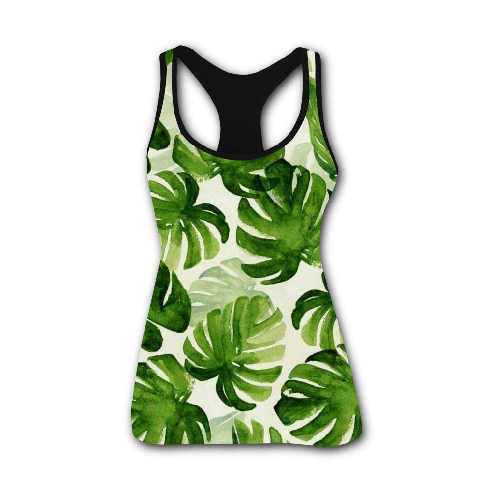 Monstera Deliciosa Plant Leafs 3D Print Summer Fashion Sleeveless Tanks Vest Top Women Girl S
