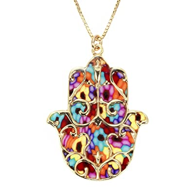 925 Sterling Silver Hamsa Necklace Pendant with Fleur de Lis Pattern Polymer Clay Handmade Jewellery, 16.5