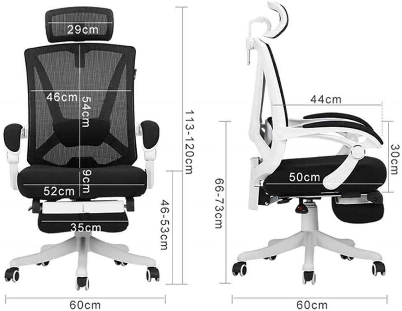 Barstolar Xiuyun kontorsstol spelstol svängbar stol, ergonomisk stol datorstol hem nätstol – med fotstöd (färg: Svart – med fotstöd) Black - No Foot Support