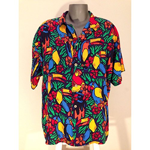 MyPartyShirt Tropical Birds Hawaiian Shirt-Mens Medium
