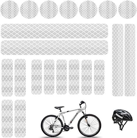 Pegatinas reflectantes adhesivas luminosas cinta reflectante blanco adhesivo impermeables reflectantes, para cascos de bicicleta, coche, moto, cochecitos, etc. (21 unidades): Amazon.es: Deportes y aire libre