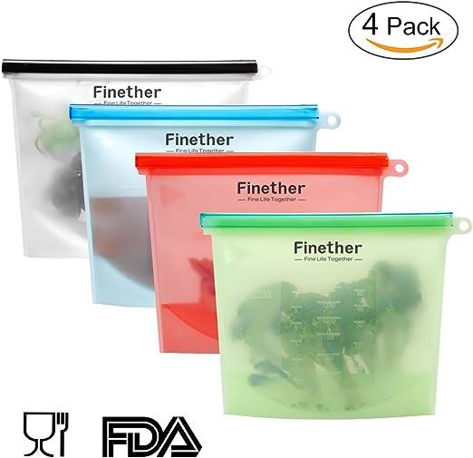 Finether-Bolsa de Alimentos Bolsa de Silicona Reutilizable ...