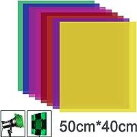 Neewer 8 Piezas Filtro Color Gel con 8 Colores-40 x 50cm Lámina de Plástico Transparente en Color, Filtro de Luz de Gel…