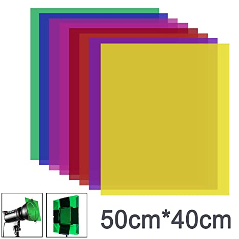 Neewer 8 Pieces Gel Color Filter with 8 Colors -16x20 inches Transparent  Color Film Plastic Sheets, Correction Gel Light Filter for Photo Studio