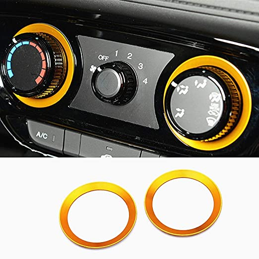 HAILWH Car Interior Modification Accessories Fit for Honda VEZEL XRV 2015-2020 Air Conditioner Knob Volume Knob Ring Aluminum Alloy Accessories red, Ignition Start Ring 1pcs