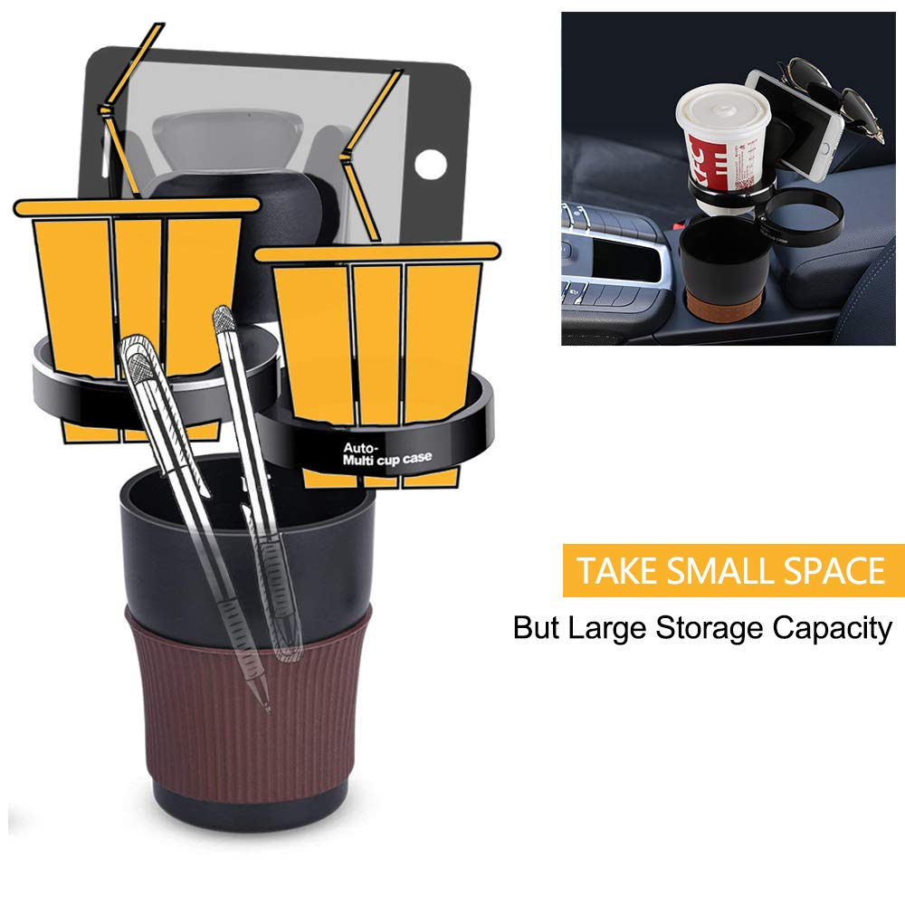 Use as Storage Box Phone Holder 360 Degrees Adjustable DIWUJI Multi Function Car Cup Holder Auto Case Organizer Universal for most Cars Sunglass Holder Black - Newest Design