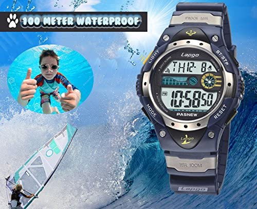 Boys Watch Waterproof 100M LCD Digital Sports Watches Display Date Day Alarm Chronos Timer Packed in Gift Box for Age 7