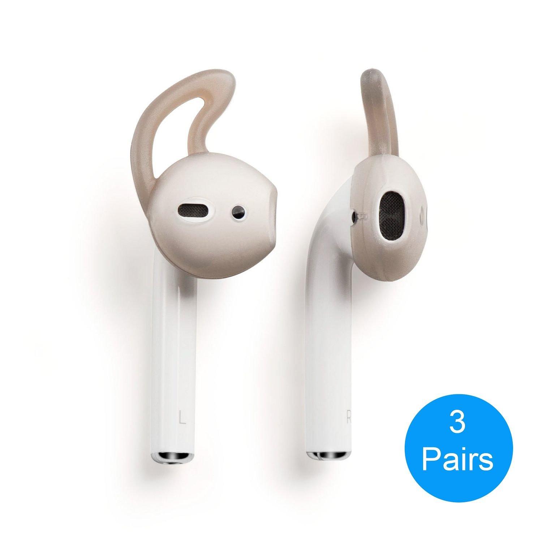 Airpods Earhooksカバー、Insten AirPod耳フック保護シリコンHookedイヤホンfor Apple Airpods Earpods、煙ブラック[ 3ペア]   B07C7T1K5K