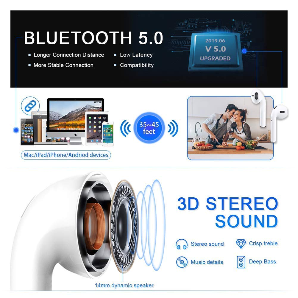 Bluetooth 5.0 Wireless Earbuds with 24Hrs Charging Case Waterproof TWS 3D Stereo Headphones in-Ear Noise Reduction Headset Premium Sound with Deep Bass for Apple Airpod iphone Airpods Sport Earphones