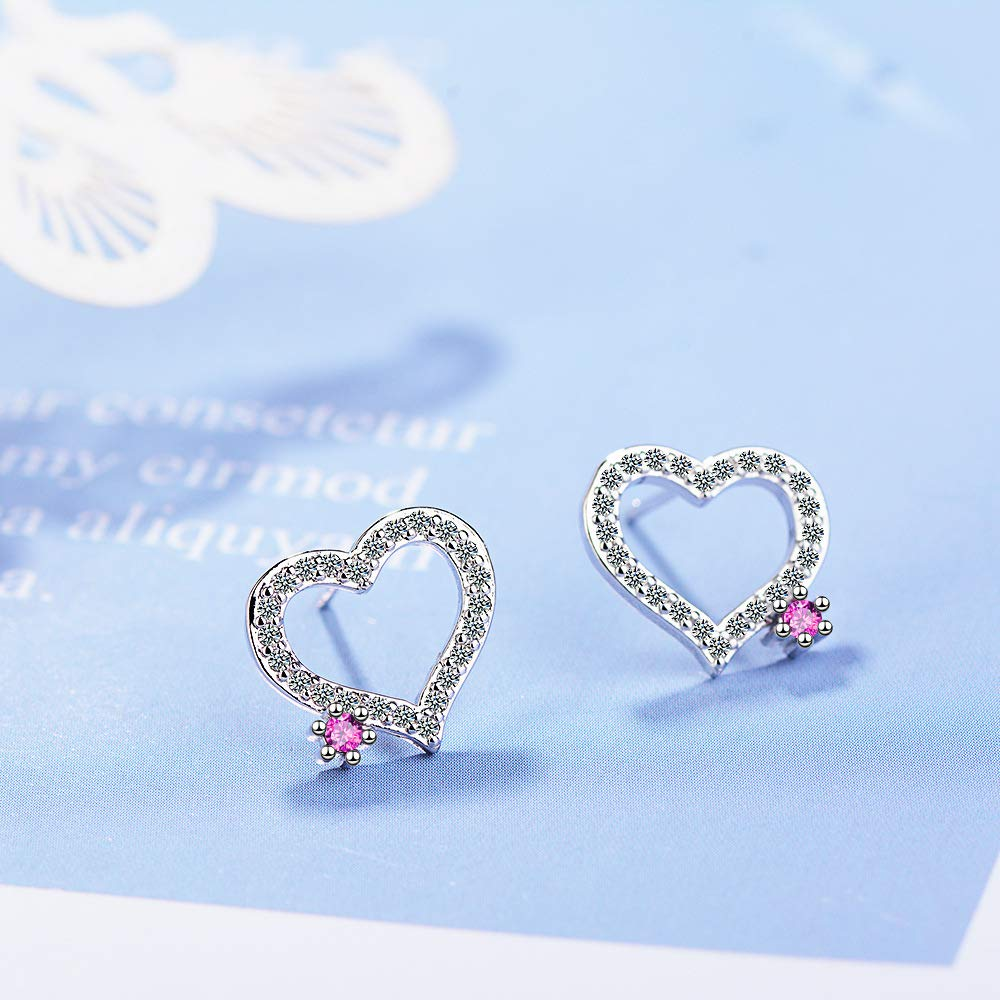 Love-Shaped Small Diamond Bride Earrings PLLP Stud Earrings Student Simple Super Fairy Delicate Ear Jewelry,Silver,One Size