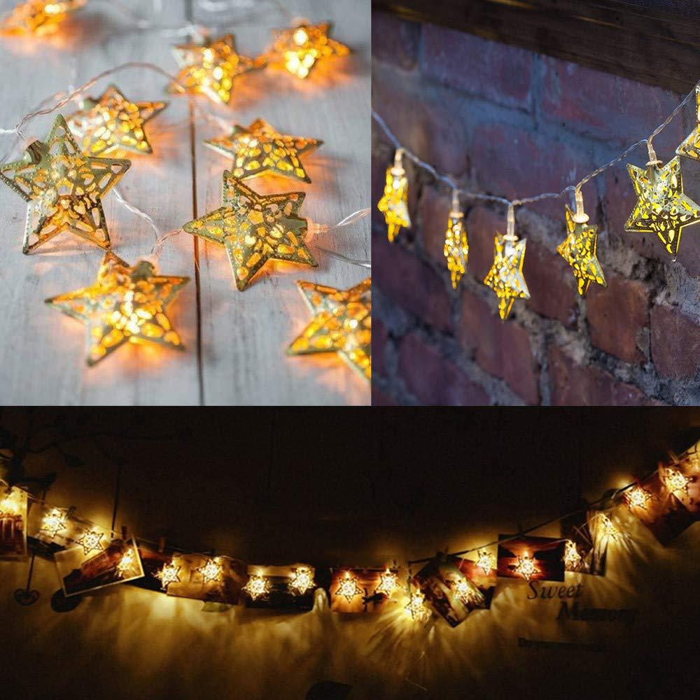 Prevently LED Hohl Stern Lichterkette Wasserdicht LED String Lichter ...