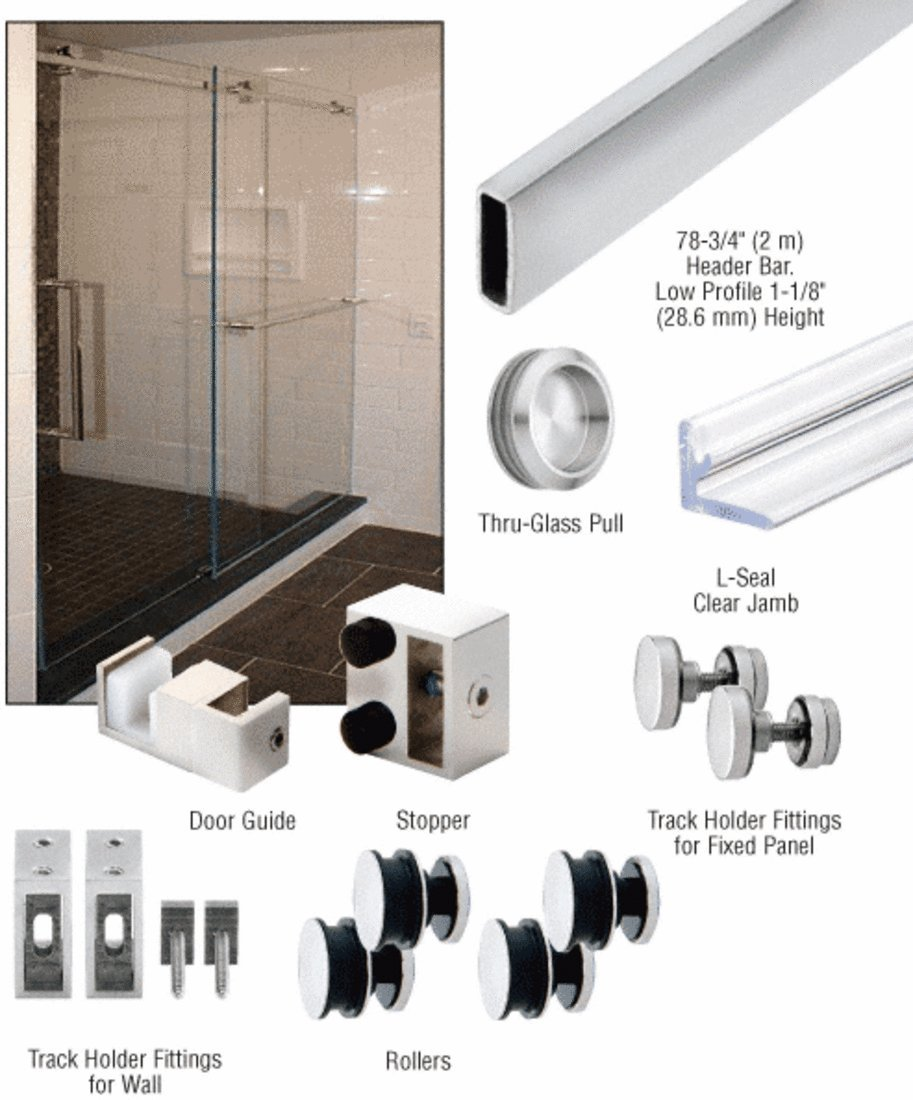 CRL Polished Stainless Steel Deluxe 180 Degree Serenity Series Sliding System