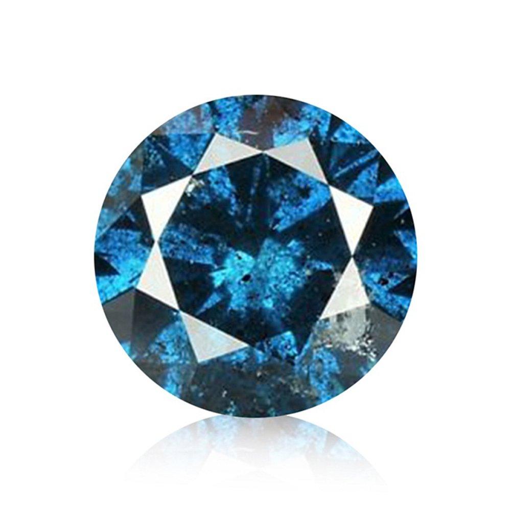 3/4 ct Blue Diamond Round Brilliant Cut Loose Diamond Natural Earth-mined Enhanced (I1-I2)
