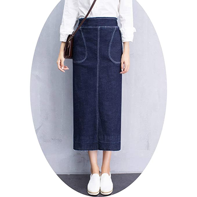 adc345637f0 Denim Skirts High Waist Pockets Back Split Jeans Skirt Plus Size Long  Pencil Skirt