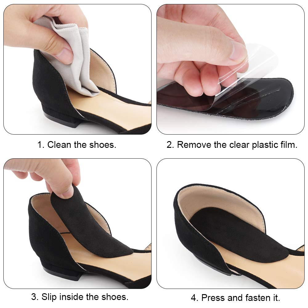 SQHT Orthotics Medial & Lateral Heel Wedge Silicone Insoles for Supination and Pronation, Corrective Adhesive Gel Shoe Inserts for Bow Legs, Foot Alignment, Knock Knee Pain (Transparent+Brown+Black)