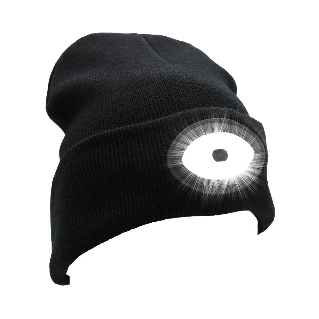 Rotus Extreme Bright Rechargeable LED Beanie Hat with High Speed Android Charging Cable, Unisex Winter Stocking Sock Cap with 12 Built-in LED Lights