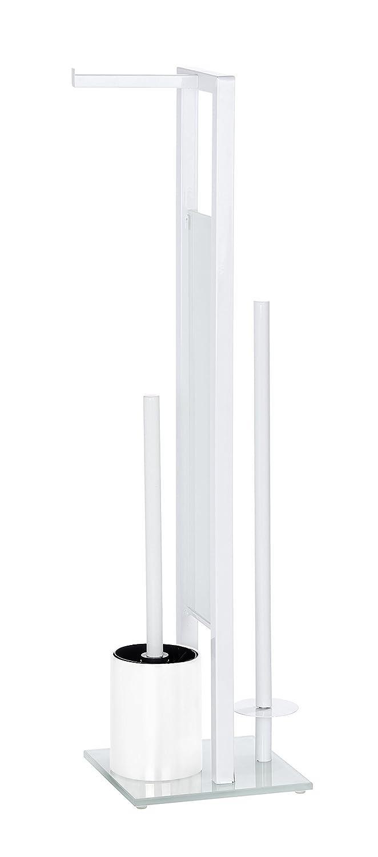 Wenko Rivalta Portarrollos con Escobillero, Acero, Blanco, 20x18x275 cm